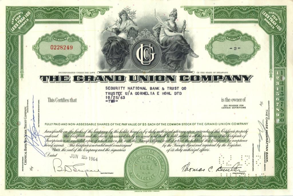 2 акции («The Grand Union Company») 1964 года (США)