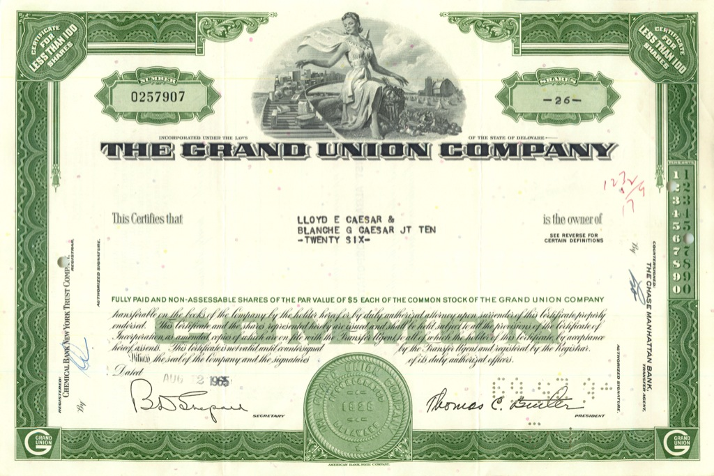 26 акций («The Grand Union Company») 1965 года (США)