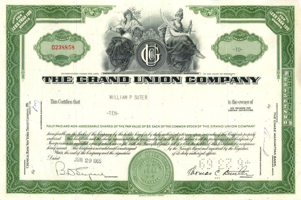 10 акций («The Grand Union Company») 1965 года (США)