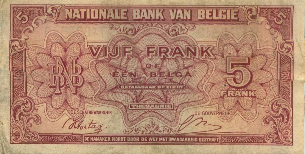 5 франков 1943 года (Бельгия)