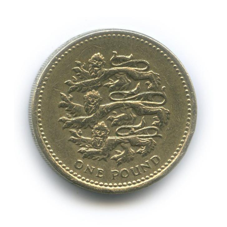 1 фунт - Три льва - герб Плантагенетов, династии английских королей, правившей Англией в 1154 - 1399 г. 1997 года (Великобритания)