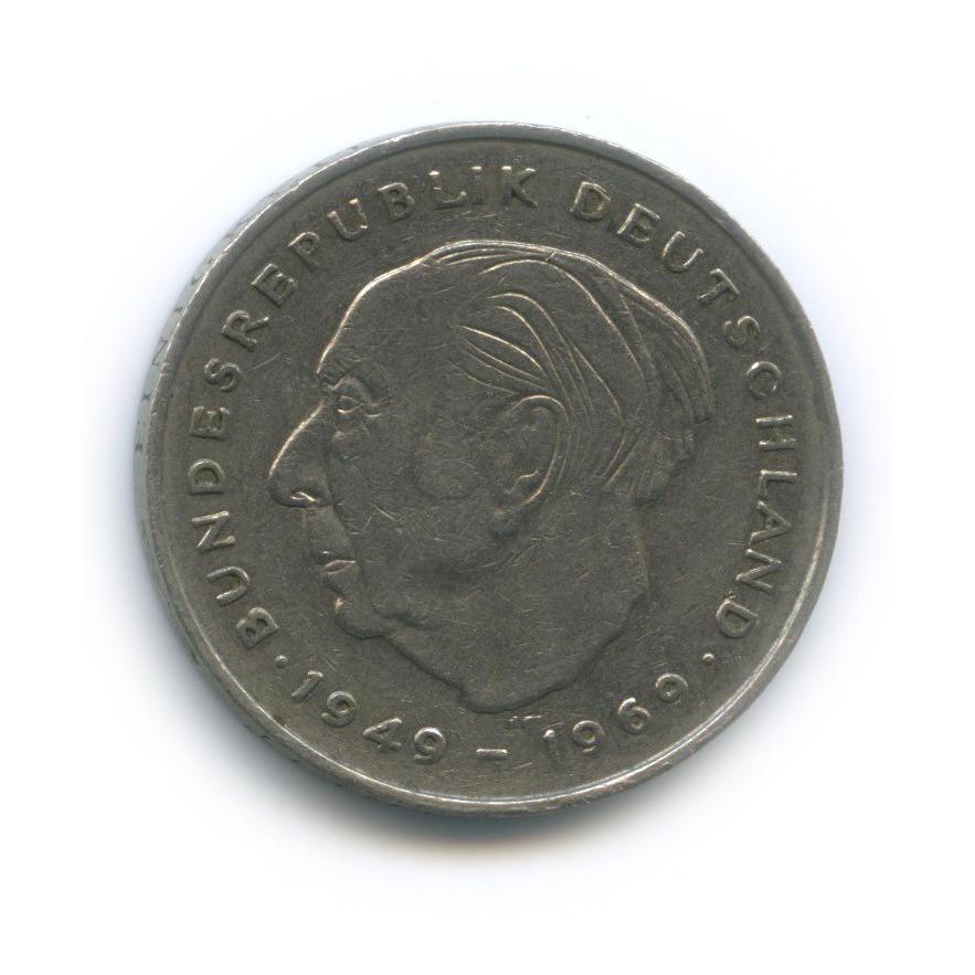 2 марки — Теодор Хойс, 20 лет Федеративной Республике (1949-1969) 1974 года G (Германия)