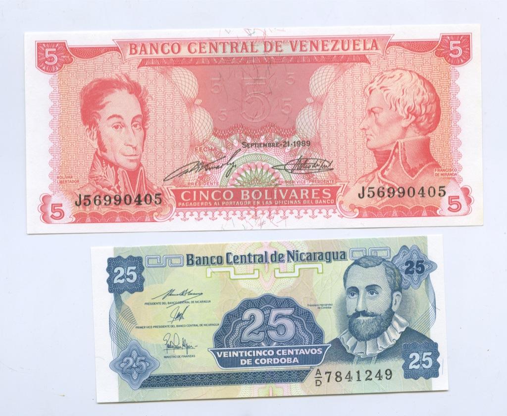 Набор банкнот (Никарагуа, Венесуэла)