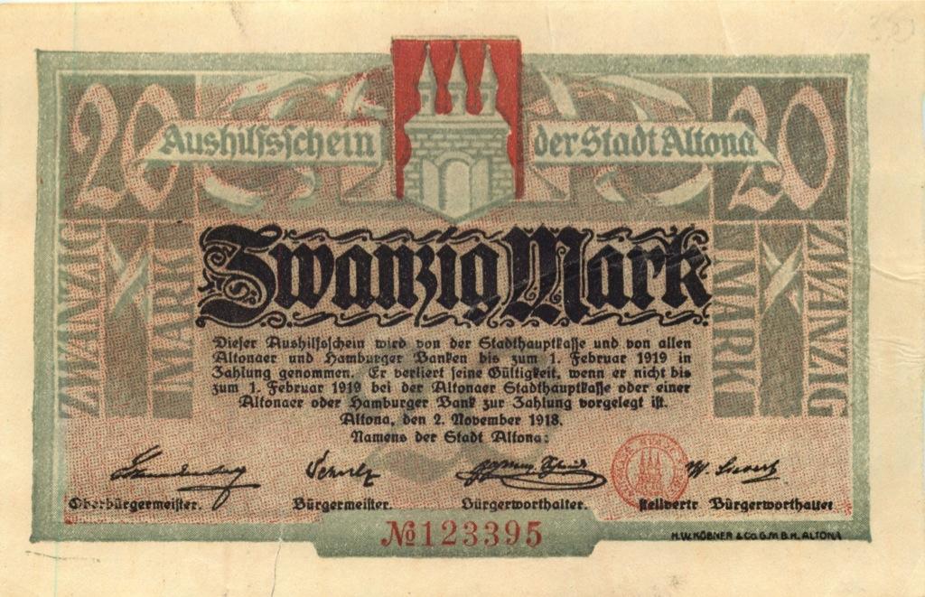 20 марок, Альтона 1918 года (Германия)