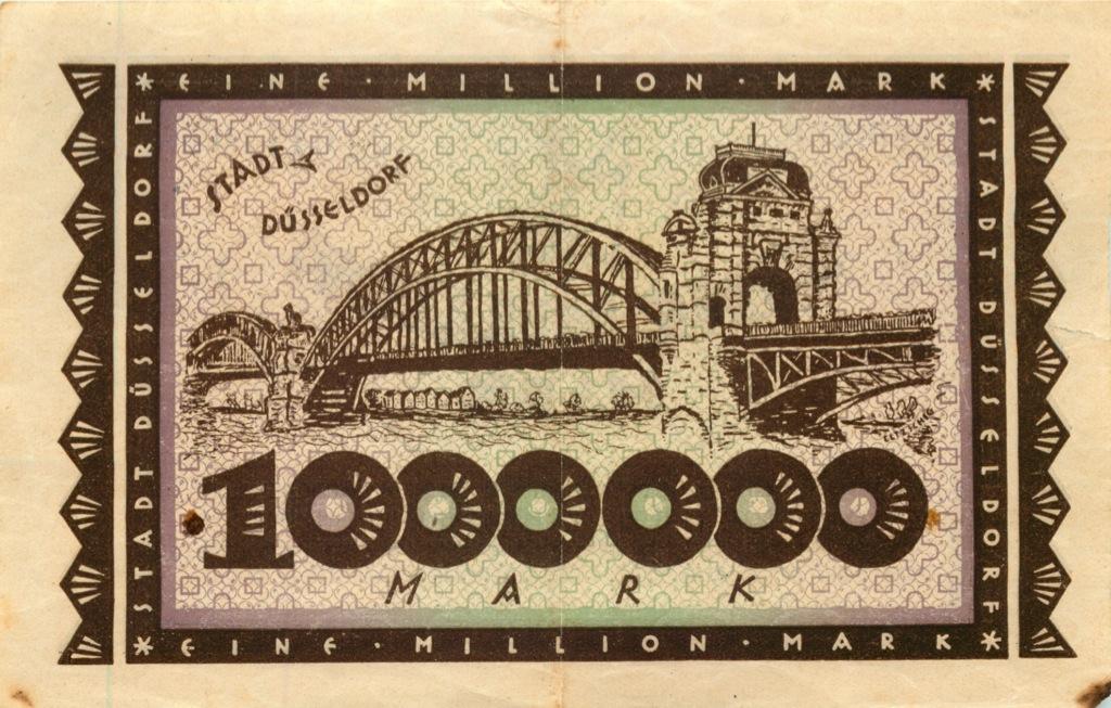 1 миллион марок, Дюссельдорф 1923 года (Германия)