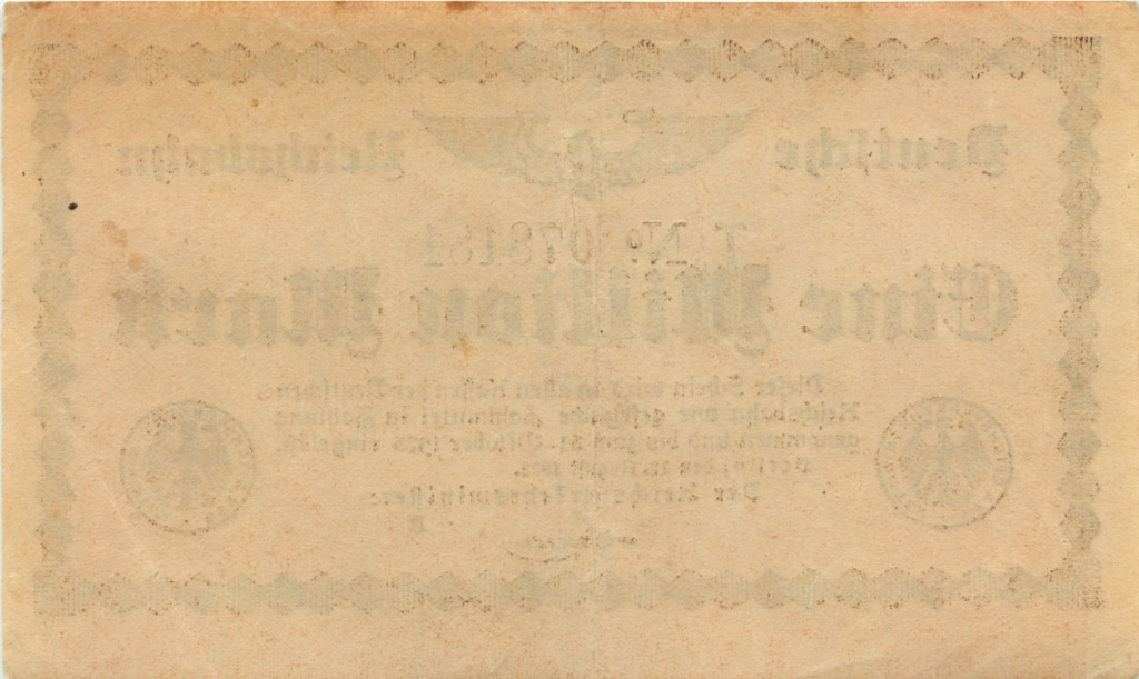 1 миллион марок, Берлинская железная дорога 1923 года (Германия)