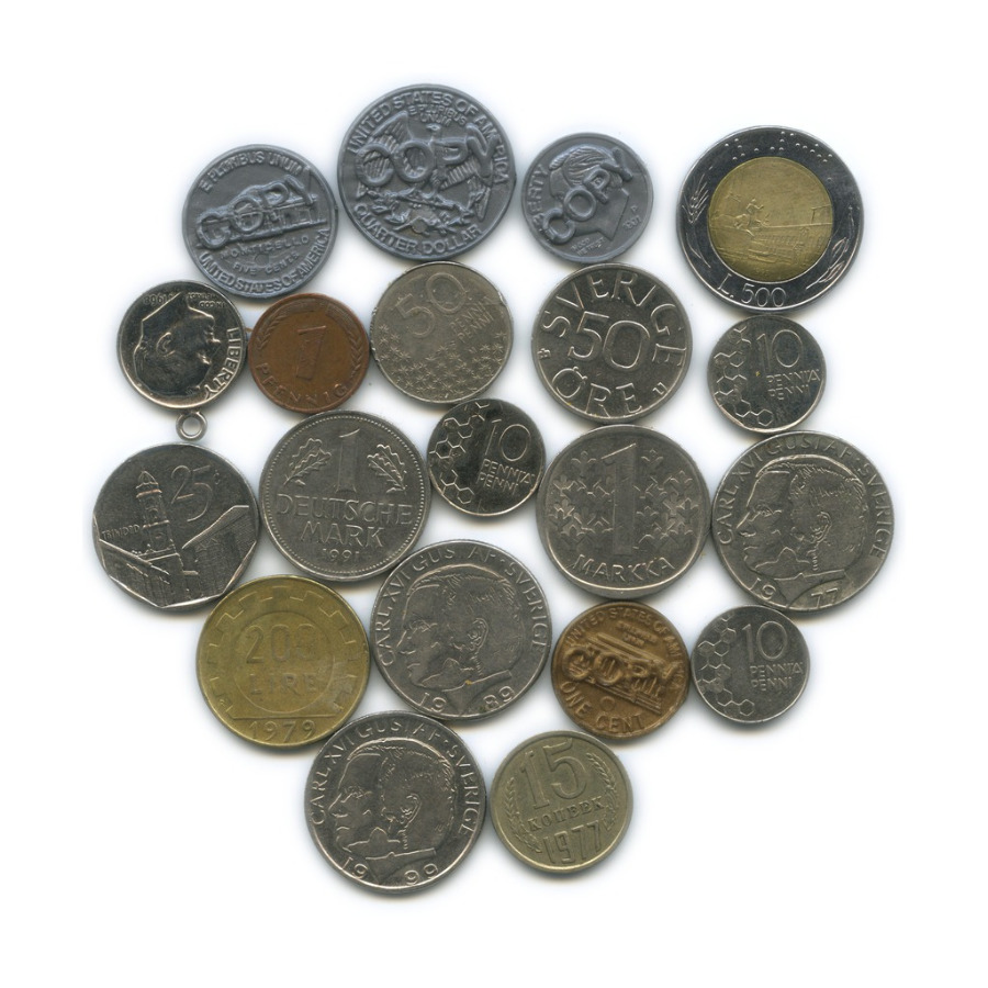 Набор монет ижетонов (разные страны)