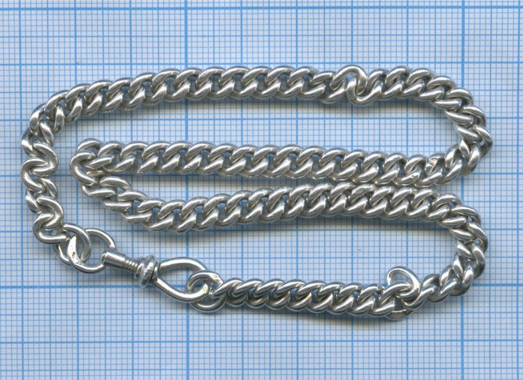 Цепочка откарманный часов (серебро 84 пробы, вес 38 гр, 36 см, клеймо «АВЧ»)