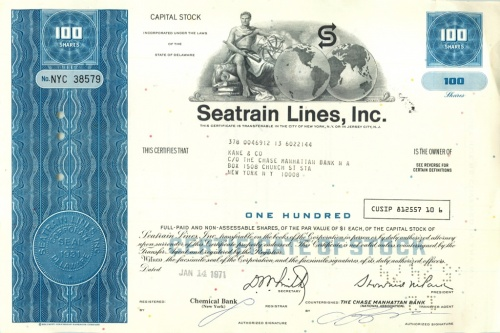 100 акций («Seatrain Lines, Inc») 1971 года (США)