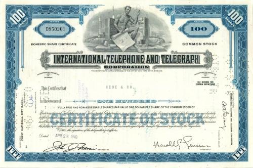 100 акций («International Telephone and Telegraph Corporation») 1970 года (США)