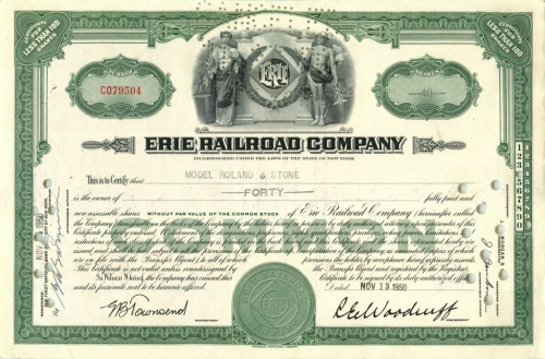 40 акций («Erie Railroad Company») 1950 года (США)