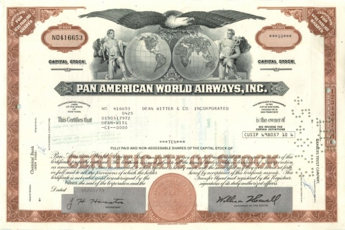10 акций («Pan American World Airways, Inc») 1973 года (США)