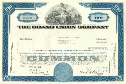 100 акций («The Grand Union Company») 1975 года (США)
