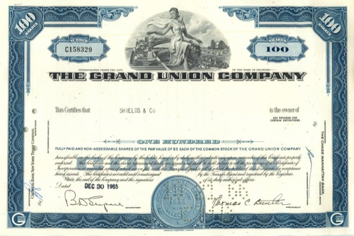 100 акций («The Grand Union Company») 1965 года (США)