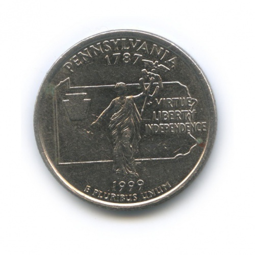 25 центов (квотер) — Квотер штата Пенсильвания 1999 года P (США)
