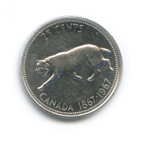 25 центов (квотер) — 100 лет Конфедерации Канада 1967 года (Канада)
