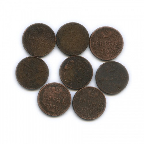 Набор монет денежка (1/2 копейки) (Российская Империя)