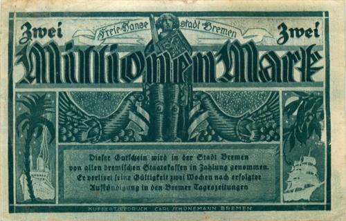 2 миллиона марок (нотгельд, Бремен) 1923 года (Германия)