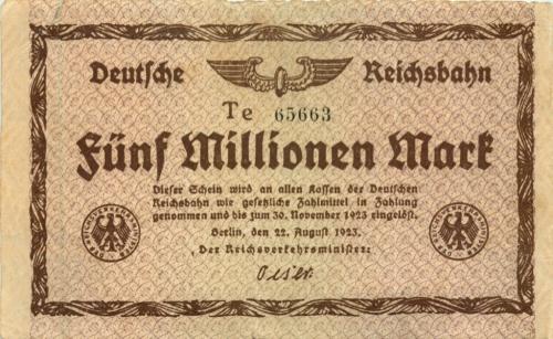 5 миллионов марок, Берлинская железная дорога 1923 года (Германия)