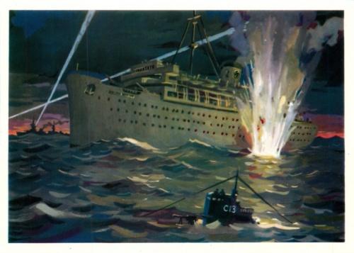 Открытка «Уничтожение фашистского лайнера «Вильгельм Густлов» (СССР)