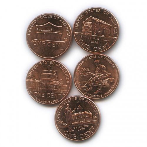 Набор юбилейных монет 1 цент 2009, 2015 (США)
