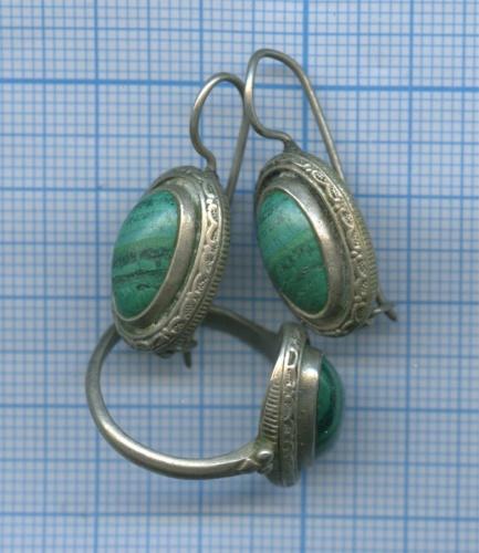 Серьги, перстень (мельхиор, малахит)