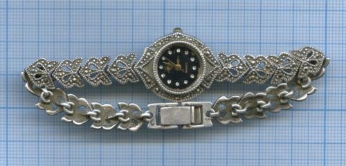 Часы наручные (925 проба серебра, общий вес 24,2 гр., механизм QUARTZ, рабочие) (Таиланд)