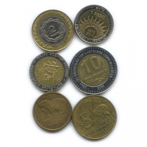 Набор монет (Аргентина, Уругвай)