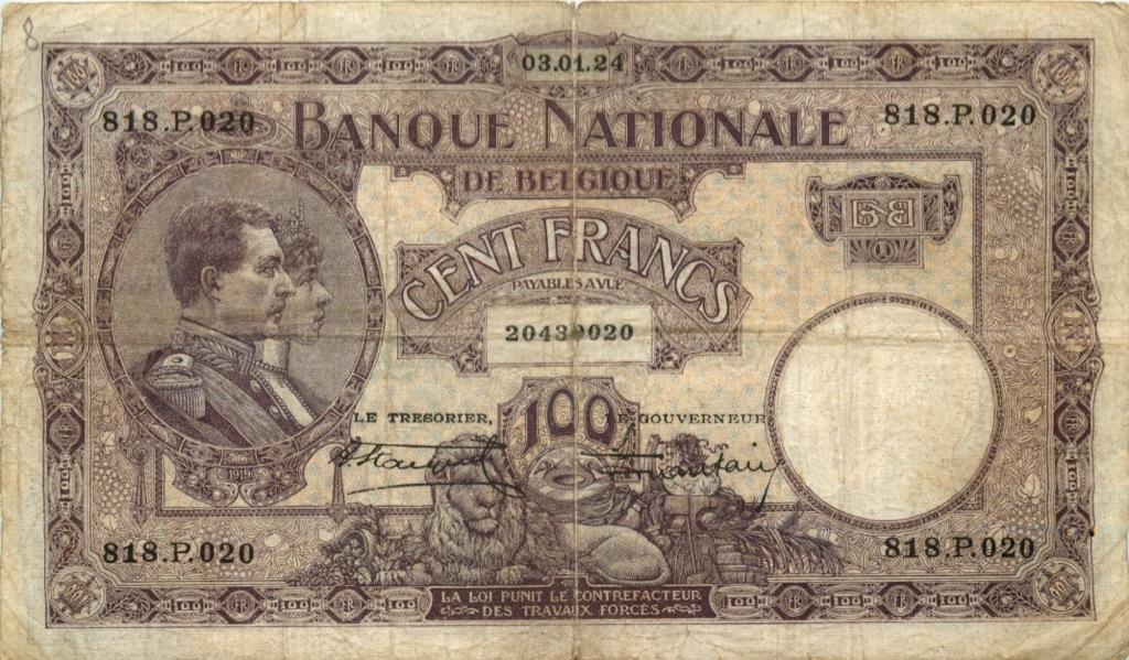 100 франков 1924 года (Бельгия)