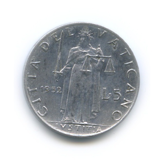 5 лир - Фигура Справедливости 1952 года (Ватикан)