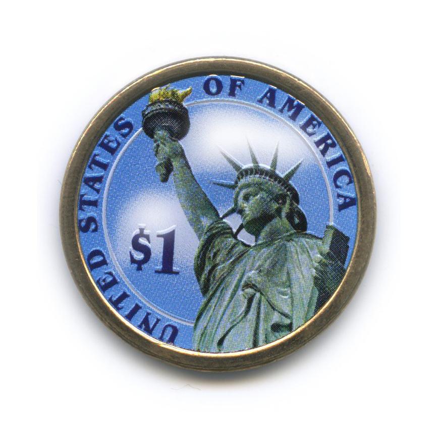 1 доллар — 9-ый Президент США - Уильям Генри Гаррисон (1841), цветная эмаль 2009 года P (США)