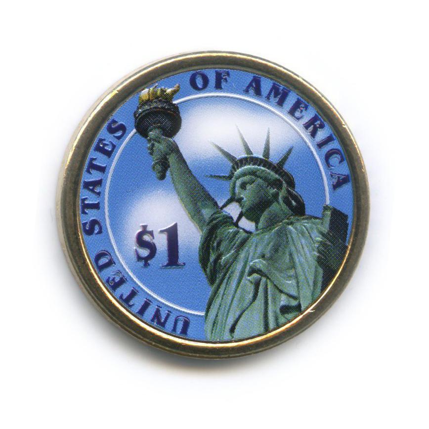 1 доллар — 19-ый Президент США - Ратерфорд Хейз (1877-1881), цветная эмаль 2011 года D (США)