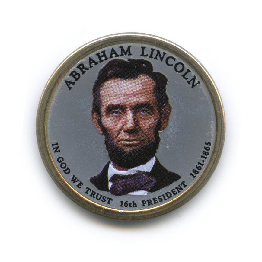 1 доллар — 16-ый Президент США - Авраам Линкольн (1861-1865), цветная эмаль 2010 года D (США)