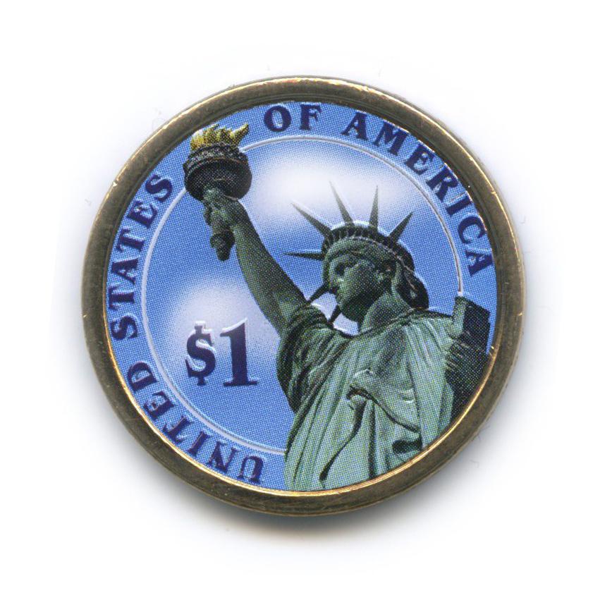 1 доллар — 2-ой Президент США - Джон Адамс (1797-1801), цветная эмаль 2007 года D (США)
