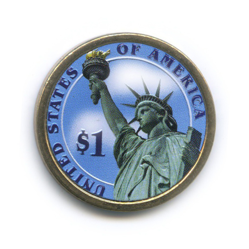 1 доллар — 1-ый Президент США - Джордж Вашингтон (1789-1797), цветная эмаль 2007 года D (США)