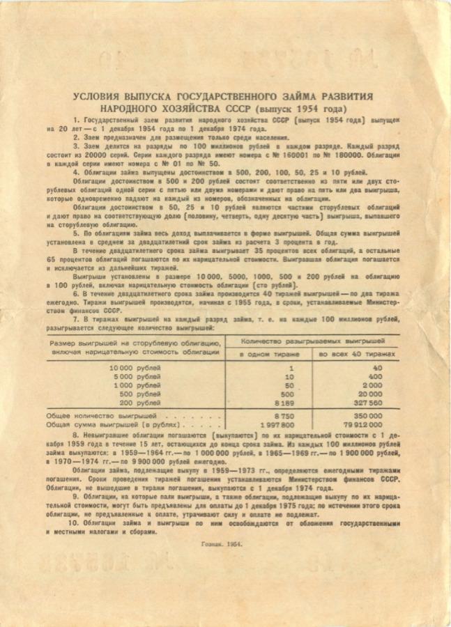 100 рублей (облигация) 1954 года (СССР)