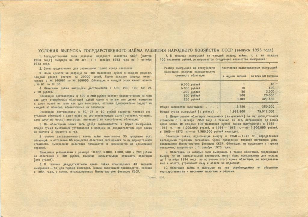 50 рублей (облигация) 1953 года (СССР)