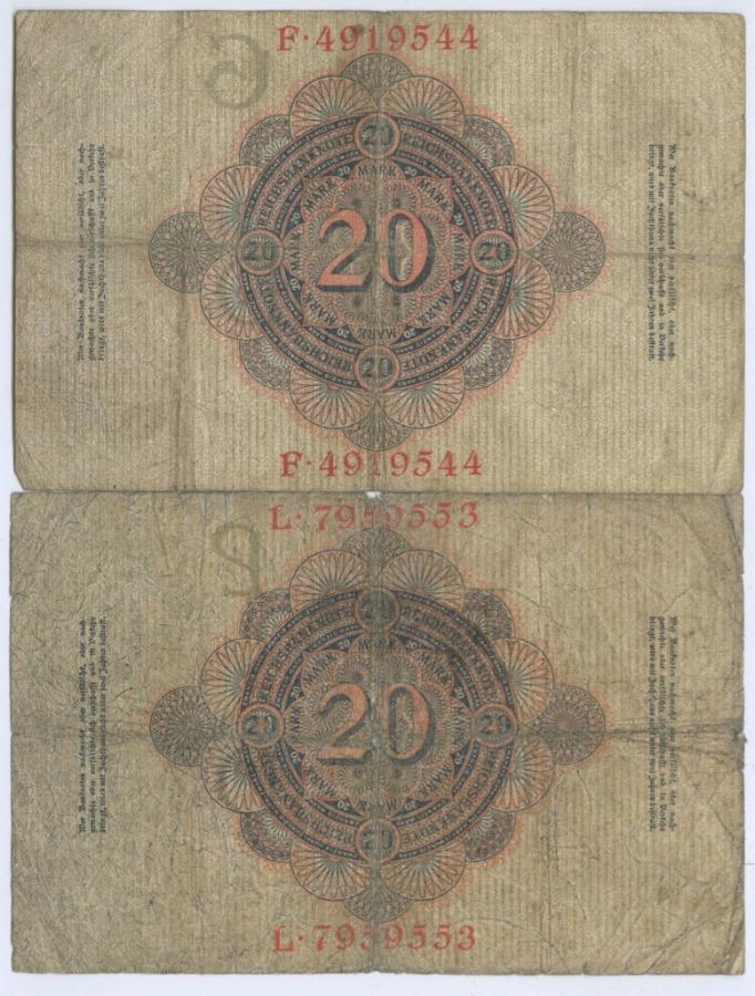 Набор банкнот 20 марок 1910, 1914 (Германия)