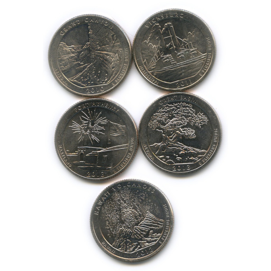 Набор юбилейных монет 25 центов (квотер) 2010-2013 D, P (США)