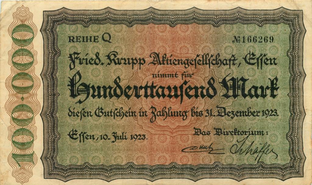 100000 марок (Эссен) 1923 года (Германия)