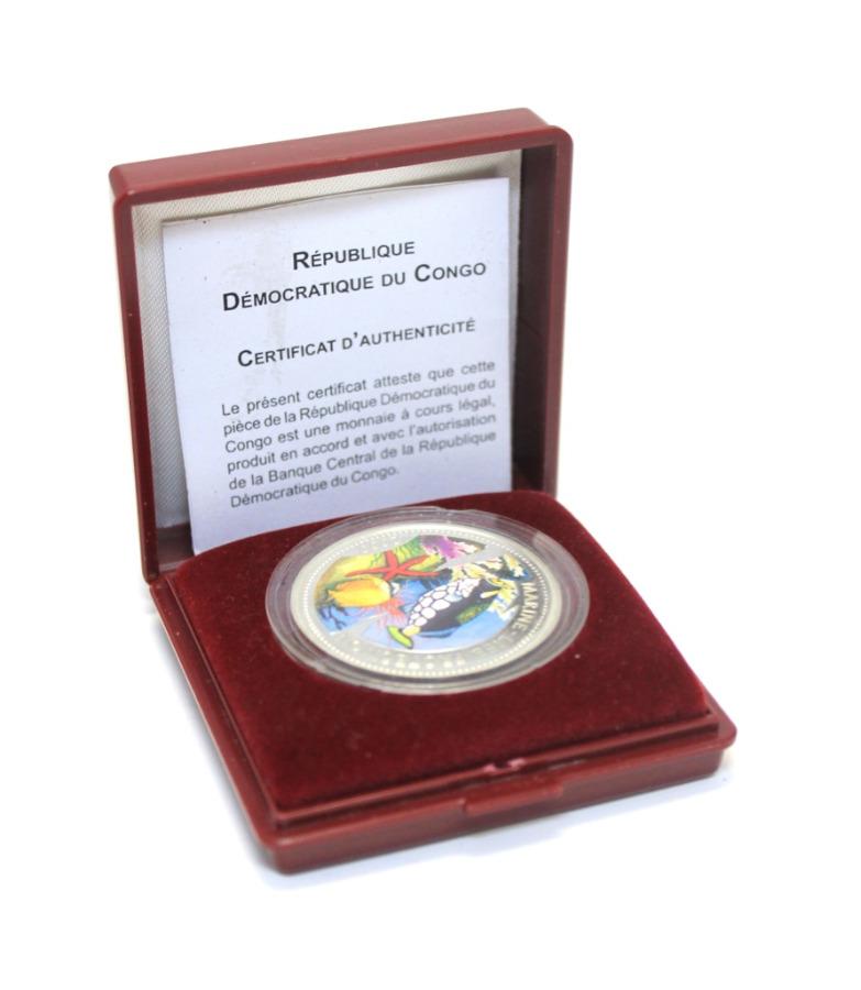 10 франков - Морская жизнь, Конго (вфутляре, серебро 900 пробы, ссертификатом) 2000 года