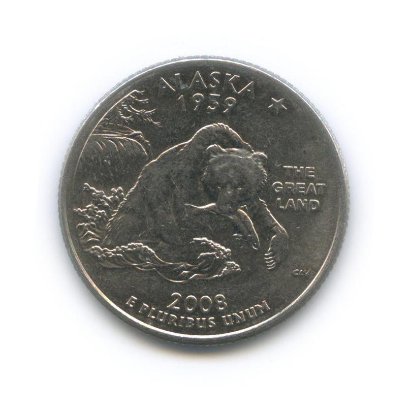 25 центов (квотер) — Квотер штата Аляска 2008 года D (США)
