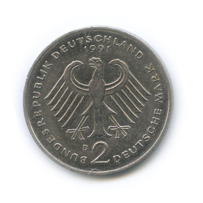 2 марки — Курт Шумахер, 30 лет Федеративной Республике (1949-1979) 1991 года D (Германия)
