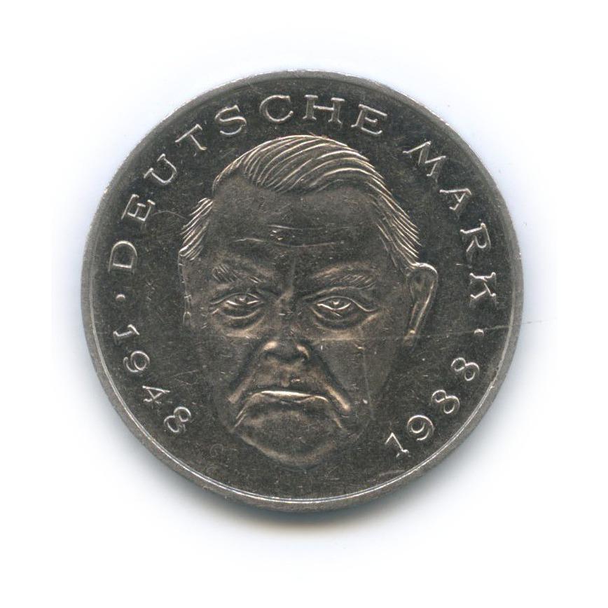 2 марки — Людвиг Эрхард, 40 лет Федеративной Республике (1948-1988) 1990 года F (Германия)