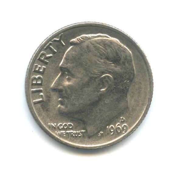 10 центов (дайм) 1969 года D (США)