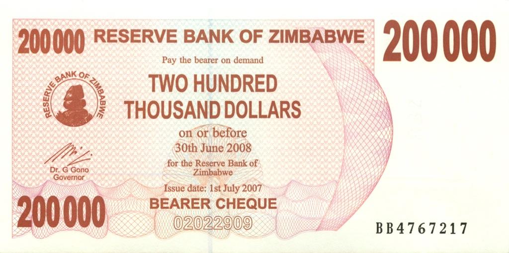200 тысяч долларов (чек напредъявителя) - Зимбабве 2007 года
