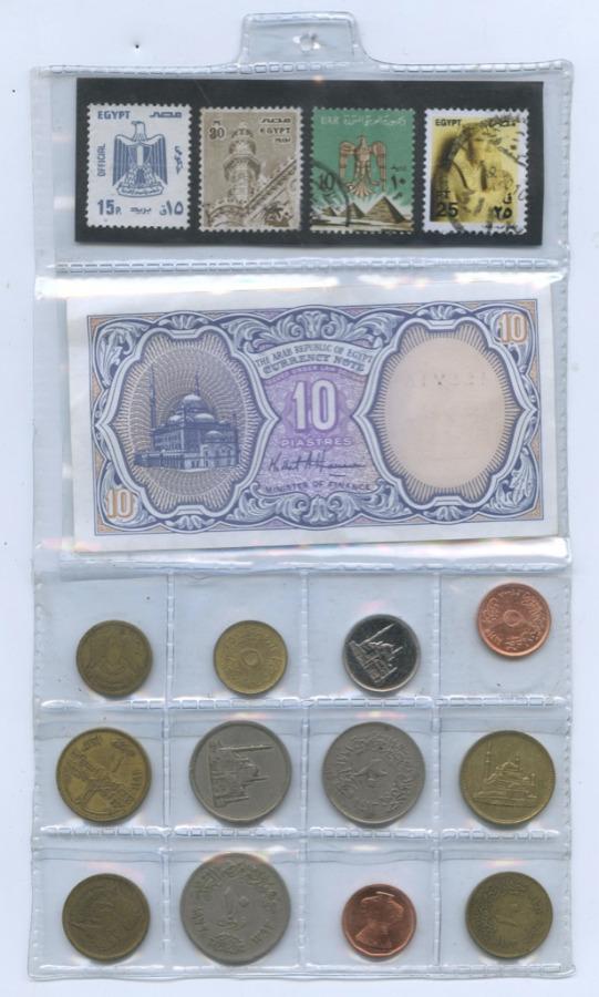 Набор монет (сбанкнотой 10 пиастров имарками) (Египет)