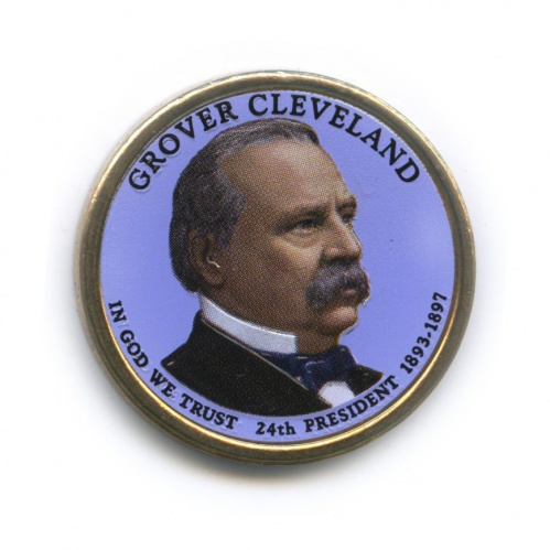 1 доллар — 24-ый Президент США - Гровер Кливленд (1893–1897), цветная эмаль 2012 года D (США)