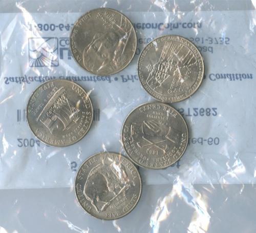 Набор юбилейных монет 5 центов (взапайке) 2004-2006 (США)