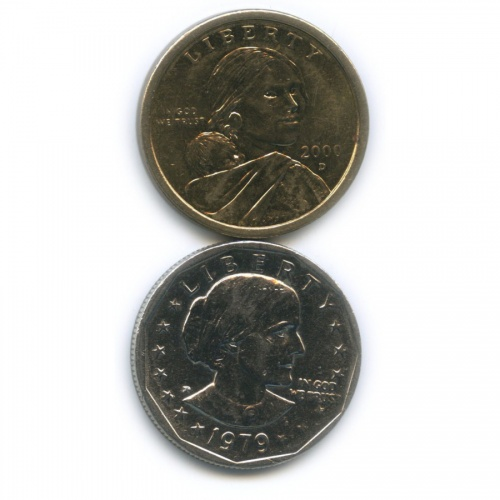 Набор юбилейных монет 1 доллар 1979, 2000 (США)